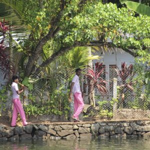 Boys in India with pink trousers