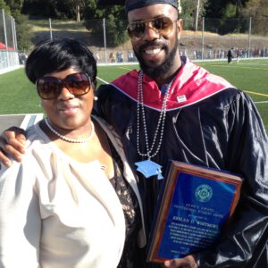 Keelan Whitmore with his mother.