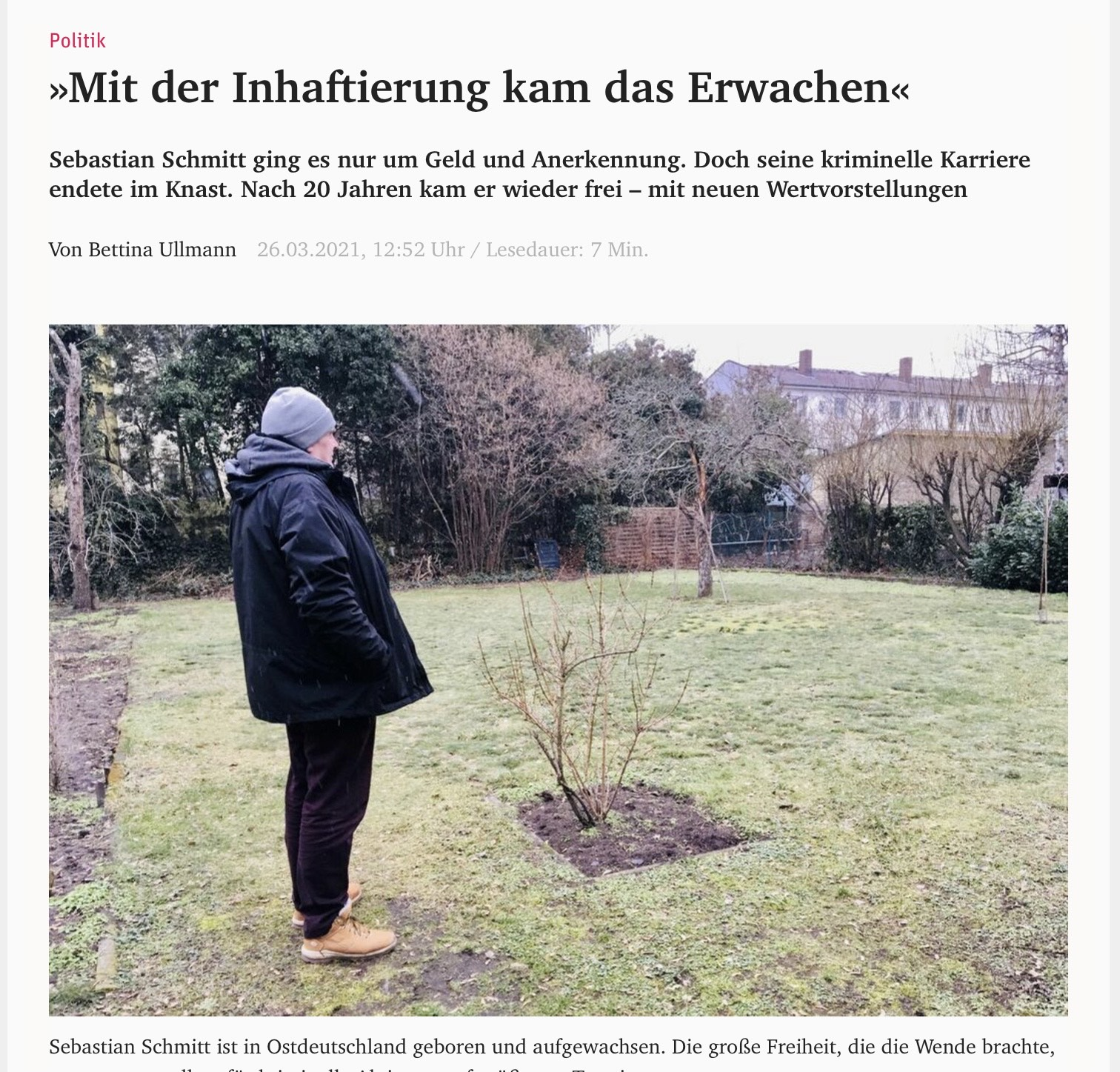 Ex-Häftling im Garten